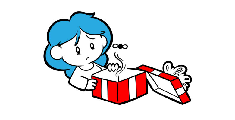 Scared Of The Anticlimactic Ending? - A reader opens a gift-wrapped box, but finds only a fly inside.
