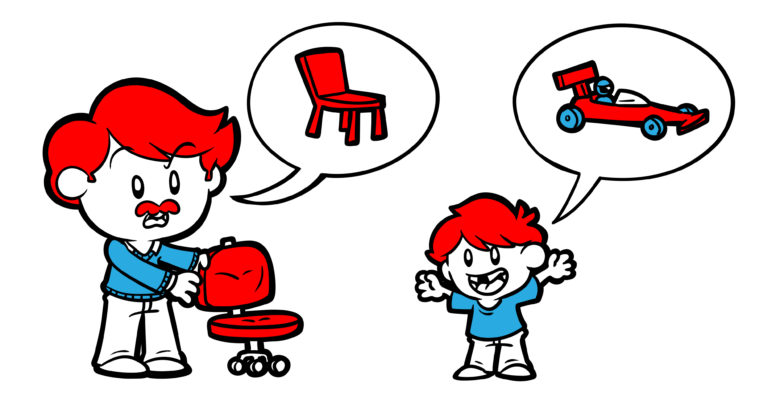 Are Your Characters Talking At Cross-Purposes? Why Not? - A son and his father discuss a swivel chair. The son sees a race car, the father a regular chair.