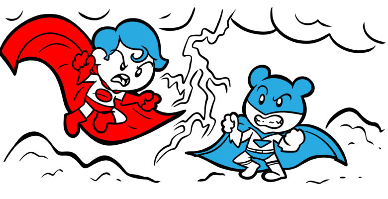 Readers Love 'Hero vs. Hero' – Find Out Why - Two superheroes clash in the clouds.
