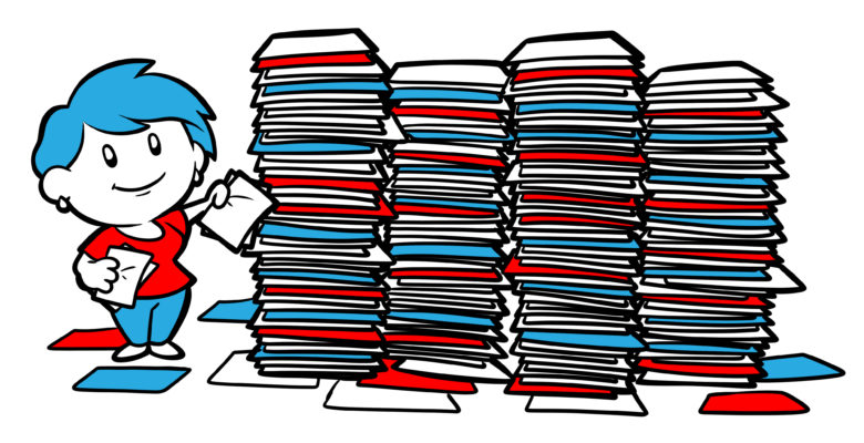 How Long Should Your Book Be? - An author stands by many stacks of paper.
