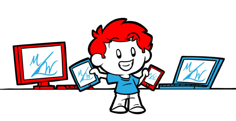 MasterWriter Review - An author holds multiple devices (tablets, phones, computers), all displaying the MasterWriter logo.