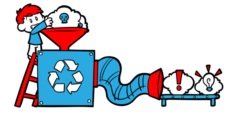 How And Why You Need To Recycle Writing Ideas - An author places ideas into a complex recycling machine. Genius emerges.