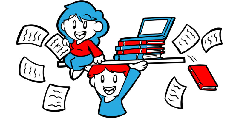 How To Get Your Partner To Support Your Writing - A writer's partner lifts her (along with books and laptops) aloft.