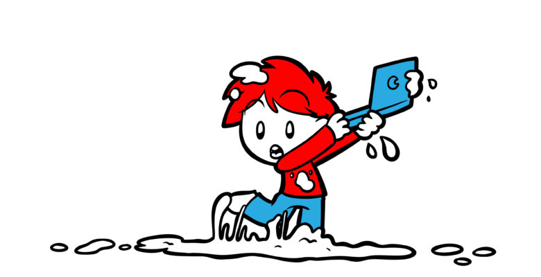 Tips To Solve The Problem Of That Scene You're Stuck On - An author holds their laptop aloft, trying to escape a sticky puddle.