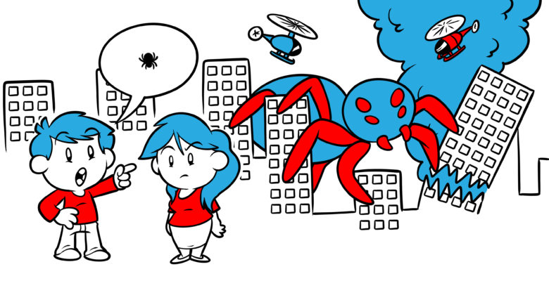 """""""Show, Don't Tell"""" – What It Means And How To Do It - One character describes a large bug to another, not quite conveying the huge spider that's smashing the city behind them."""