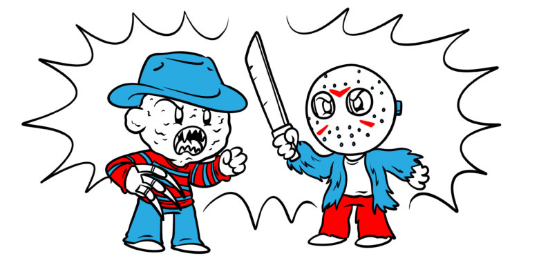 How To Create Conflict Between Multiple Antagonists - An image reminiscent of Freddy vs. Jason