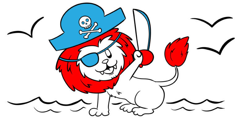 Why You Need To Write With Authenticity And How To Do It - A lion, who is also a pirate, raises his cutlass high.