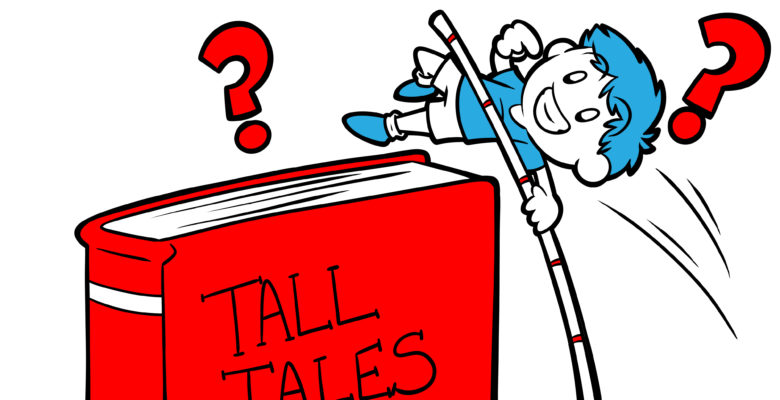 Your Book Is Crying Out For A Volta – Here's How To Deliver - A character, somewhat confused, vaults over a book titled 'Tall Tales'.