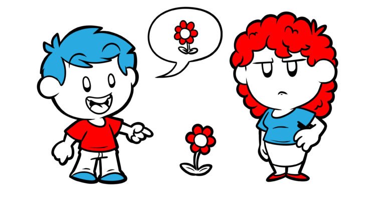 Improve Your Exposition Immediately With This One Simple Tip - A character points to a flower, unnecessarily telling his friend what it is.