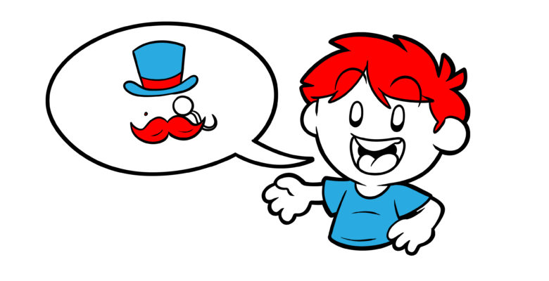 Get To Know Your Characters Better With This Novel Device - A character with a speech bubble. Inside are a hat, a mustache, and a monocle.