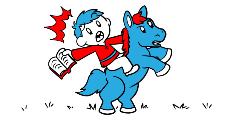 Everything A Fantasy Author Needs To Know About Horses And Mounts - An author rides a horse, rearing up with book in hand.