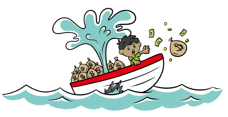 How To Save Your Story From The Sunk Cost Fallacy - Jostled by his ship sinking, an author drops a bag of money overboard.