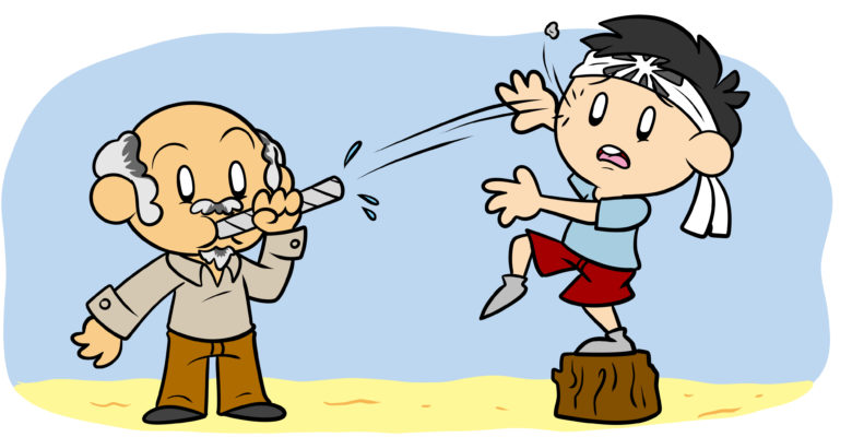 How (And Why) To Write A Mentor Character - A scene reminiscent of The Karate Kid, with a mentor blowing spitballs at his pupil.