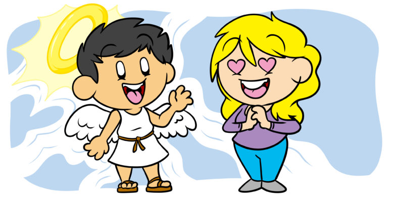 Is The Halo Effect Exactly What Your Characters Need? - A woman stares at an angel, hearts in her eyes.