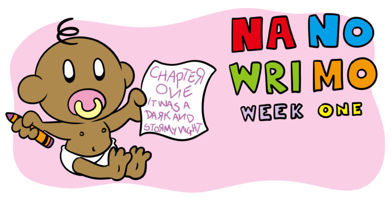 NaNoWriMo Week 1: How To Get Your First Draft Started - A baby holds a piece of paper, on which they've started their first chapter.