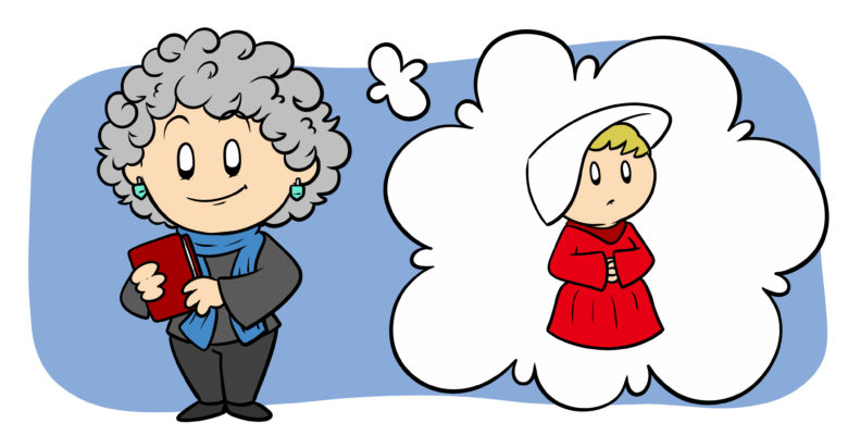 6 Ways Margaret Atwood Can Help You Improve Your Writing - Margaret Atwood stands holding a book, a handmaid in a thought bubble next to her.