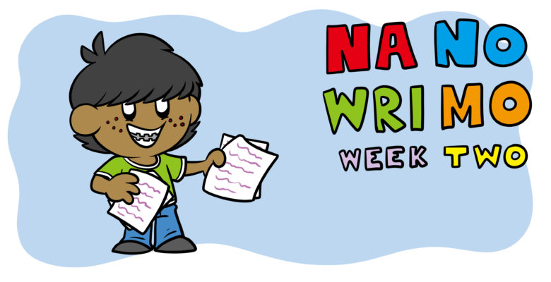NaNoWriMo Week 2: How To Flesh Out Your Characters And Structure - A teen holds up a number of completed pages.