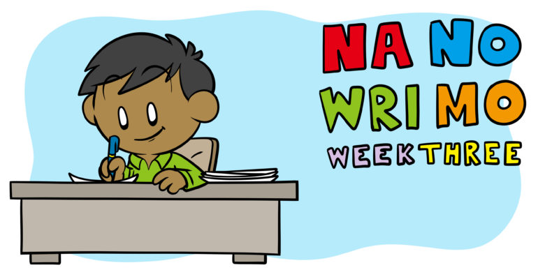 NaNoWriMo Week 3: How To Get Over The Hump (And More) - A young, adult author works at a desk.