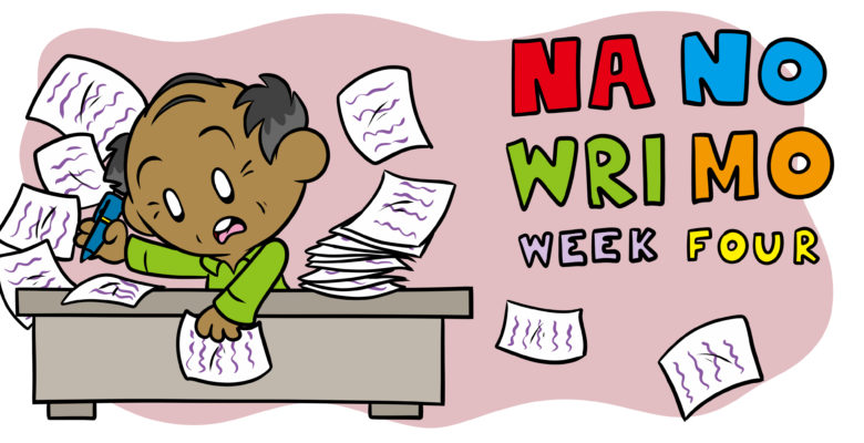 NaNoWriMo Week 4: How To Conclude Your Story - A middle-aged author works frantically on his book.
