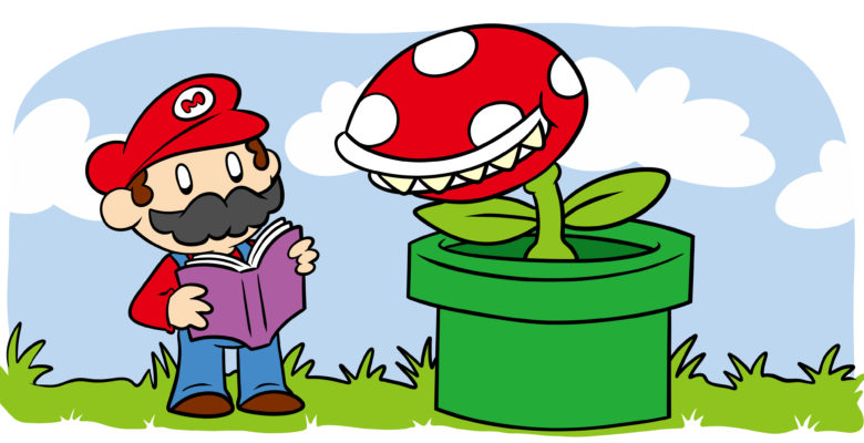 How To Write About Video Games In Fiction - An image reminiscent of Super Mario, in which the character is reading a book.