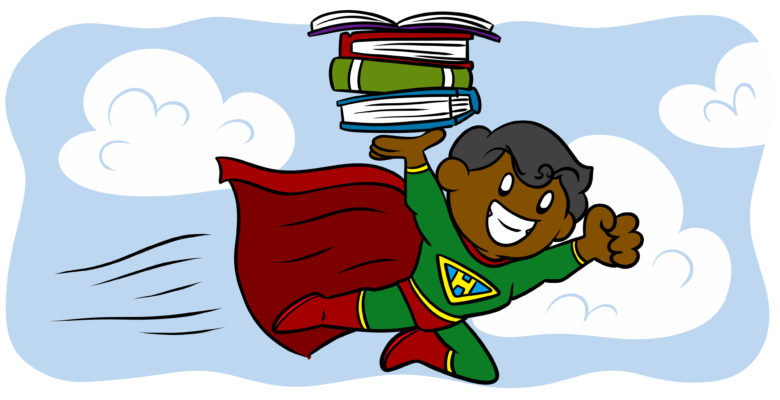 How To Write A Character Who Can Carry A Series - A superhero carries a stack of books.