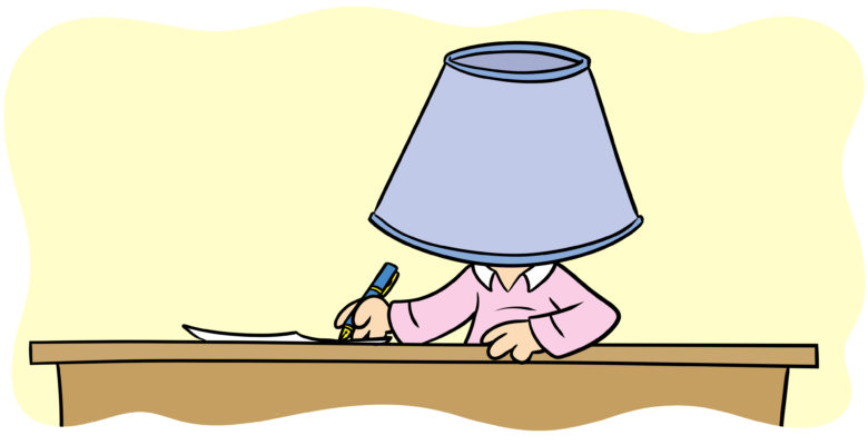 Improve Your Story By Hanging A Lampshade On It - An author works with a lampshade on their head.