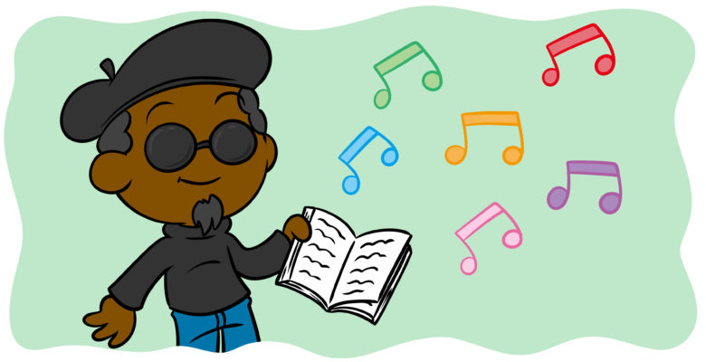 Including Original Poetry And Song In Your Fiction (What You Need To Know) - A beatnik author holds out their book, music notes floating free.