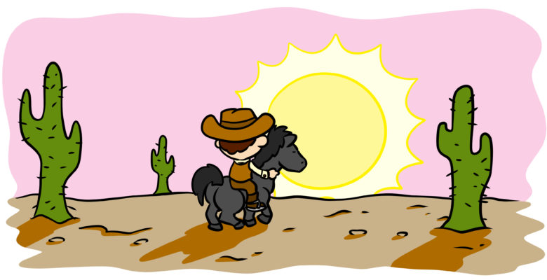The Better Way To End Your Scene - A cowboy rides off into the sunset.