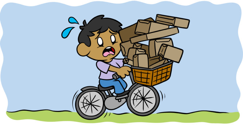 How (And When) To Stop Front-Loading Your Story - A character pedals a bike, the front basket laden with packages.