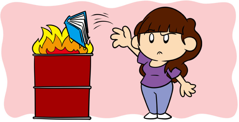 5 Reasons Readers Give Up On Books… And How To Avoid Them - A reader throws a book into a fire.