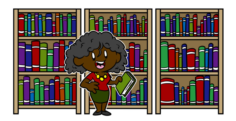 Your Research Can't Stop With The Internet – Here's Where To Go - An author stands in front of shelves of books.
