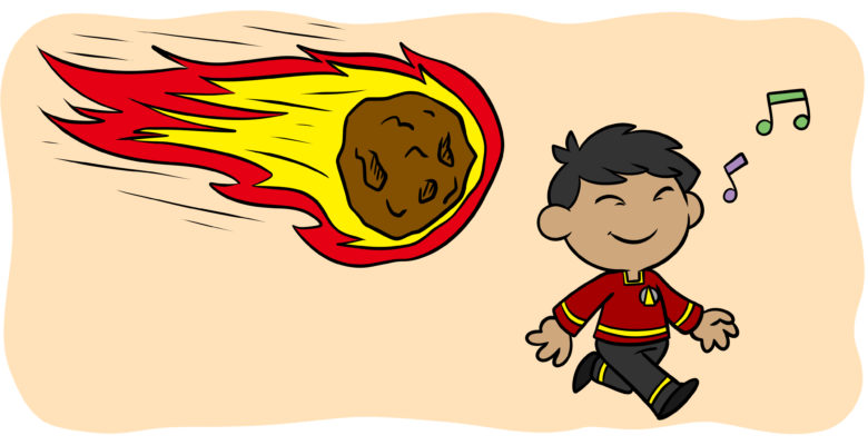 How To Avoid Writing A Redshirt Character - A meteor is about to strike an unaware character wearing a red shirt reminiscent of Star Trek.