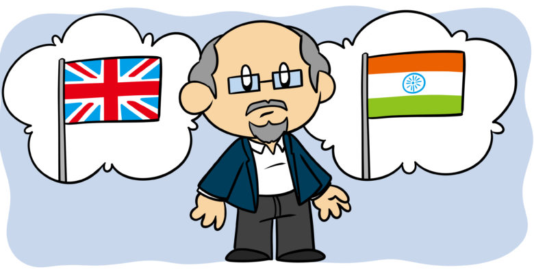 6 Ways Salman Rushdie Can Improve Your Writing - Salman Rushdie stands thinking about the flags of India and the UK.