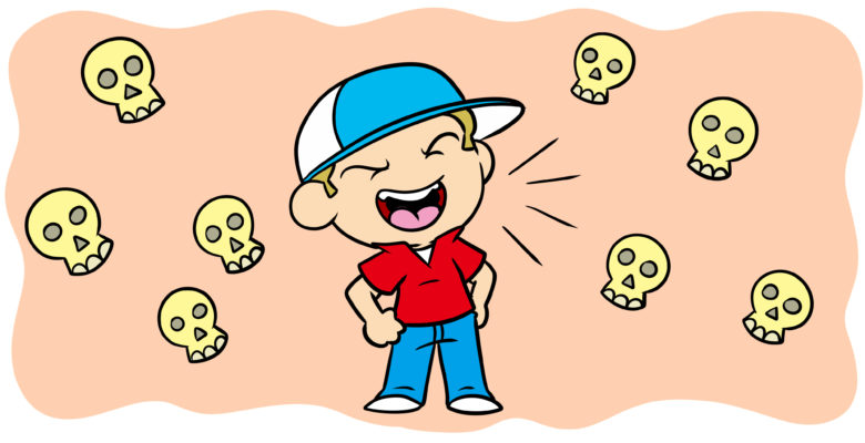 How To Make An Unlikable Protagonist Work For Your Story - A bully brays, surrounded by skulls.