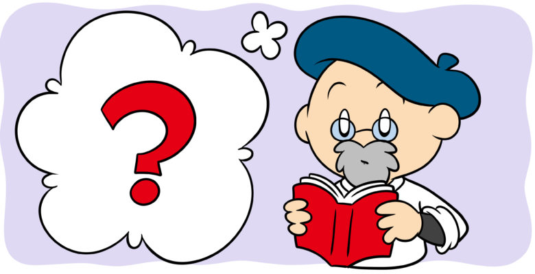 3 Writing Myths You Should Feel Free To Ignore - An author in a beret reads a book, a question mark by his head.