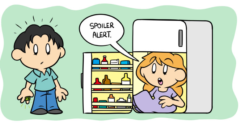 What Is 'Fridging', And How Can You Avoid It? - A man opens the fridge to discover a woman, who says 'spoiler alert'.