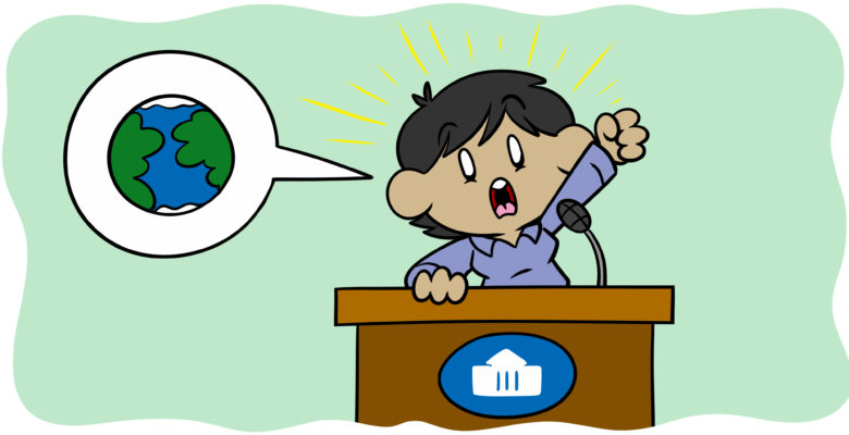How To Manage The Politics Of Your Writing - A character stands at a podium, ranting about the world.