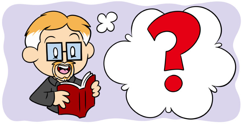 3 (More) Writing Myths You Should Feel Free To Ignore - An author in glasses reads a book, a question mark by his head.