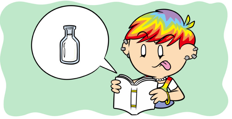 The Color-Coding Technique That Will Save Your Writing - A character with rainbow hair reads a book, complaining that it's bland via an icon of a bottle of milk.