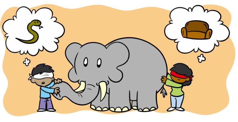One Simple Tip To Improve Your Description - Two blindfolded people feel an elephant. The one holding the trunk thinks 'snake', the one at the back thinks 'couch'.