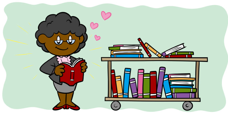 How To Get Libraries To Buy Your Book - A librarian holds a book, love hearts circling her head.