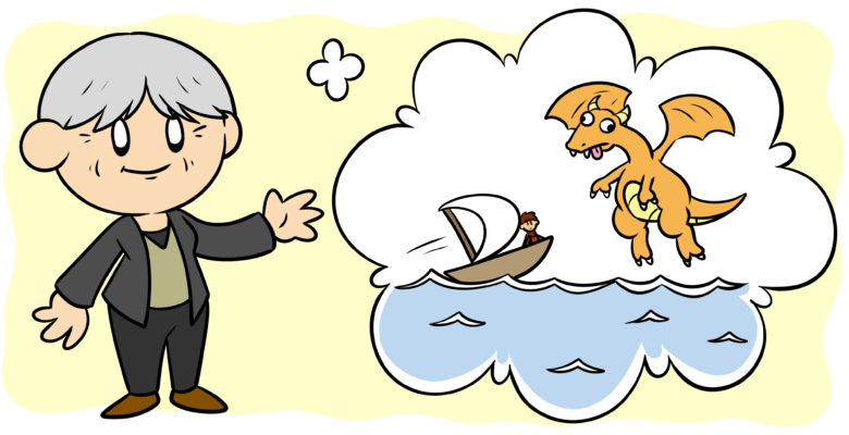3 Ways Ursula K. Le Guin Can Help You Improve Your Writing - Ursula K. Le Guin waves, a dragon and small boat in her thought bubble.