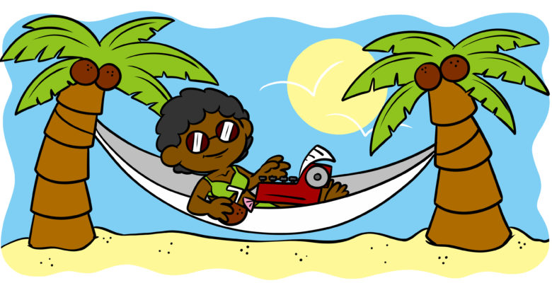 Is A Writing Retreat Right For You? - An author lays in a hammock on a desert island.