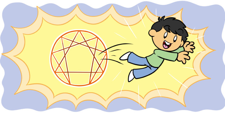 How To Create Characters Using The Enneagram - A character leaps from a complex 2D shape.