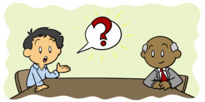 How To Negotiate A Better Writing Contract - An author sits across from a publisher, asking a question.