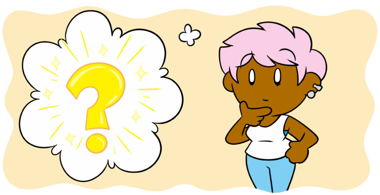 A Single Question To Help You Figure Out What Happens Next - An author ponders, a thought bubble with a question mark in it beside them.