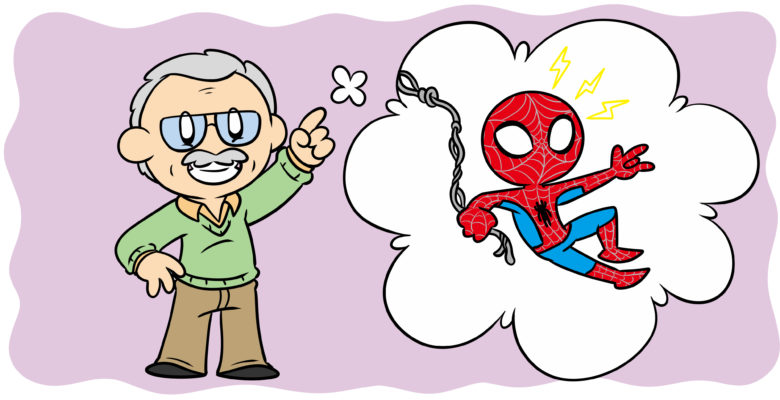 11 Ways Stan Lee Can Help You Improve Your Writing Right Now - Stan Lee waves at the reader beside a thought-bubble containing Spider-Man.