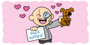 How To Write A Sympathetic Villain - A character who resembles Blofeld holds a sign that reads 'Free puppies!'