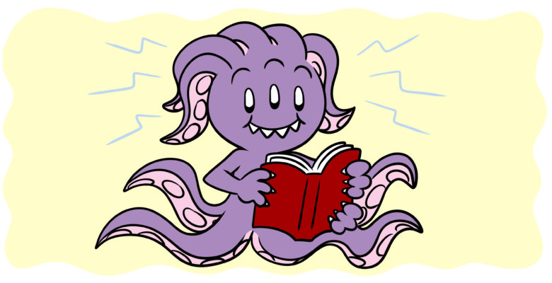 What Makes Fiction Bizarro, And What Makes Bizarro Awesome? - A strange, octopus-like monster reads a book.