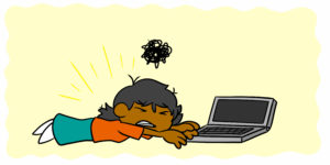 How To Stop Decision Fatigue And Burnout Hurting Your Writing - An author lies in front of their laptop, exhausted and defeated.